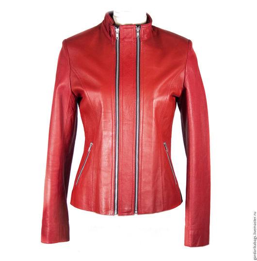 Верхняя одежда ручной работы. Ярмарка Мастеров - ручная работа. Купить Красная куртка из натуральной кожи. Handmade. Ярко-красный