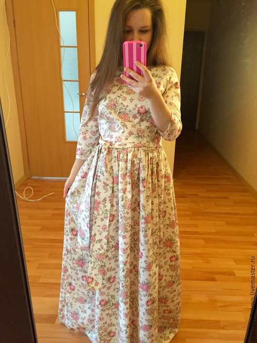 Платья ручной работы. Ярмарка Мастеров - ручная работа. Купить Платье Беж с розовыми цветочками на лето на осень. Handmade. Разноцветный