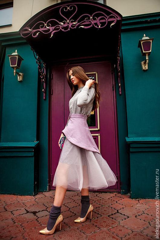 Юбки ручной работы. Ярмарка Мастеров - ручная работа. Купить Сиреневая юбка.. Handmade. Сиреневый, фатиновая юбка, шёлк-фатин