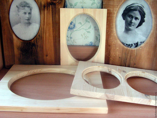 Рамочки для фотографий из дерева различных размеров и форм. Без обработки могут быть использованы как заготовки для декупажа и росписи.