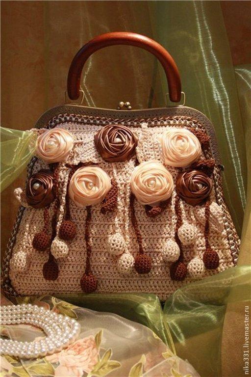 """Женские сумки ручной работы. Ярмарка Мастеров - ручная работа. Купить Сумка """"Шоколадные розы"""". Handmade. Бежевый, сумка из лент"""