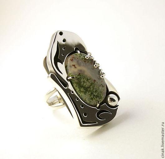 Кольца ручной работы. Ярмарка Мастеров - ручная работа. Купить Серебряное кольцо с агатом - Цветущий сад. Handmade. Хаки
