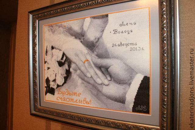 """Отшив вышивальщицей схемы вышивки крестом """"Будьте счастливы!"""" в виде свадебной метрики с именами и датой бракосочетания."""