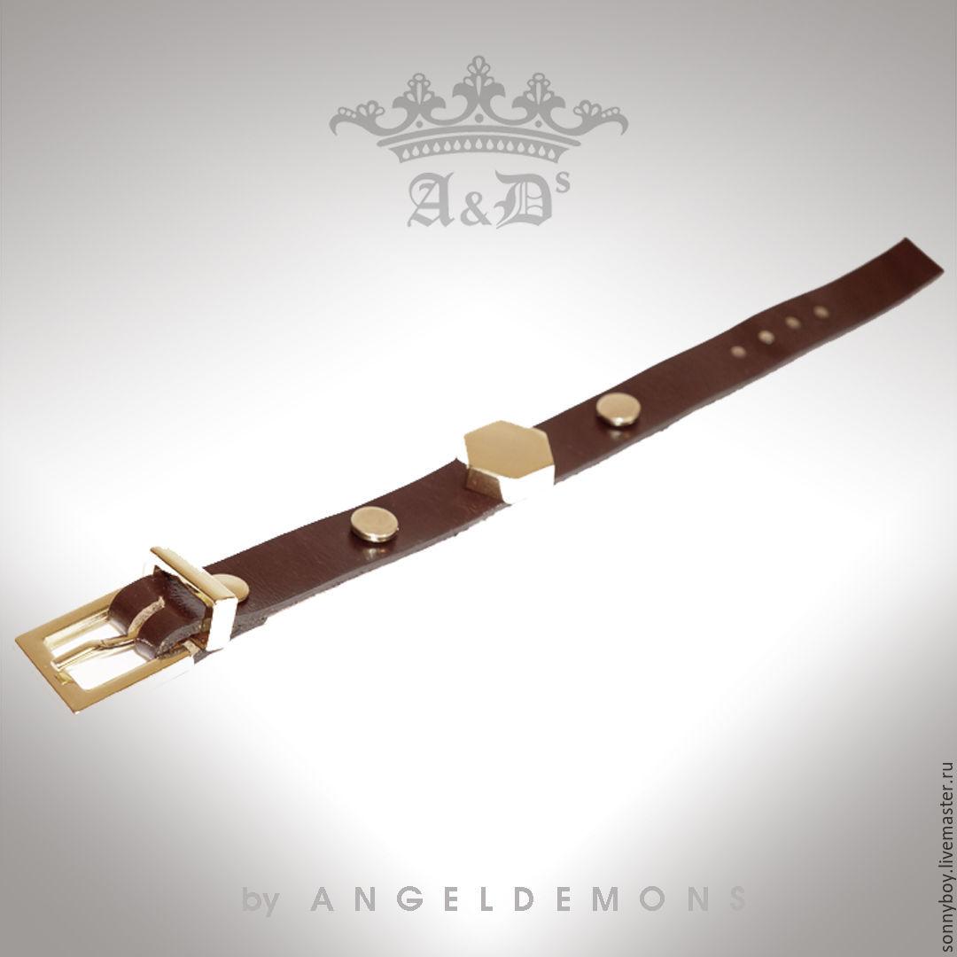 Браслет из кожи - Bracelet Brown Gold Rhombus