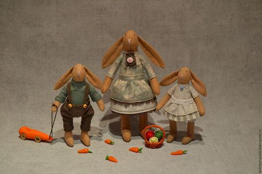 Коллекционные куклы ручной работы. Ярмарка Мастеров - ручная работа. Купить Семья кроликов. Handmade. Комбинированный, подарок маме
