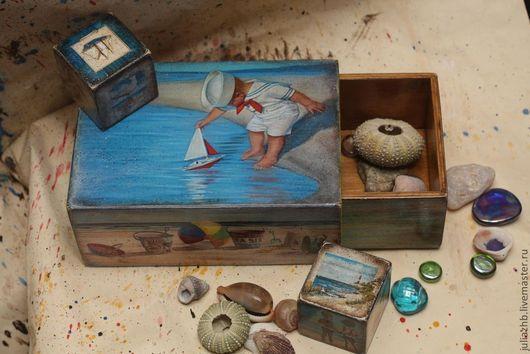 Детская ручной работы. Ярмарка Мастеров - ручная работа. Купить Коробок для морских сокровищ. Handmade. Голубой, морской, кубик, старение