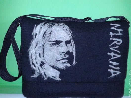 """Женские сумки ручной работы. Ярмарка Мастеров - ручная работа. Купить сумка валяная """"Nirvana"""". Handmade. Черный, сумка мужская"""