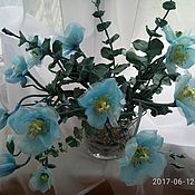 "Цветы и флористика handmade. Livemaster - original item ""Blue Lagoon"" Home decor flower arrangement- blue poppy and eucalyptu. Handmade."