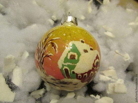 Новый год 2017 ручной работы. Ярмарка Мастеров - ручная работа. Купить Новогодний елочный шарик Зимняя сказка. Handmade. Разноцветный
