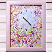 Картины и панно handmade. Livemaster - original item Painting Sakura - clocks