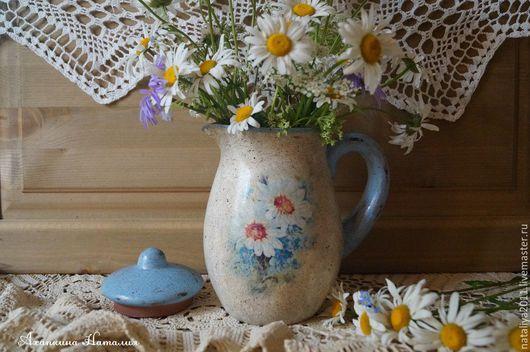 """Графины, кувшины ручной работы. Ярмарка Мастеров - ручная работа. Купить """"Нежность июня""""-керамический кувшин. Handmade. Бежевый, ромашки"""