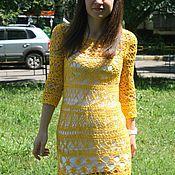 Одежда ручной работы. Ярмарка Мастеров - ручная работа Платье желтое ажурное вязаное крючком летнее. Handmade.