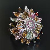 "Украшения handmade. Livemaster - original item Large silver ring: tourmaline, ruby ""Flower"". Handmade."