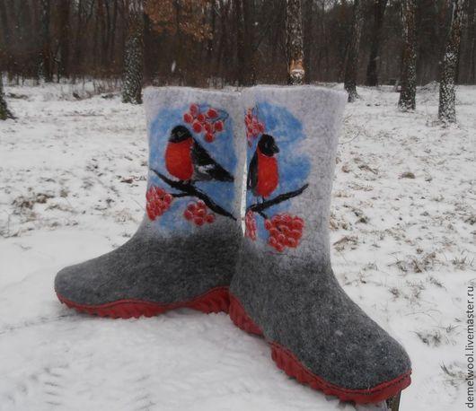 """Обувь ручной работы. Ярмарка Мастеров - ручная работа. Купить Валенки детские """"Снегири"""".. Handmade. Валенки, валенки с рисунком"""