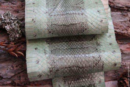 Шитье ручной работы. Ярмарка Мастеров - ручная работа. Купить Кожа змеи оливковый цвет. Handmade. Оливковый, кожа змеи