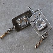 handmade. Livemaster - original item Rhinestone earrings, silver,gold and Goldfield. Handmade.