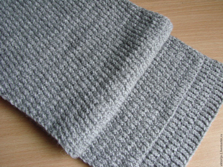 серый мужской шарф вязаный спицами Колосок – купить в ...