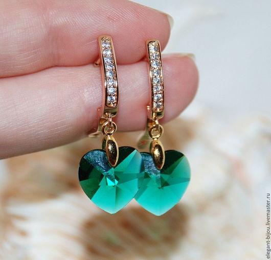 Серьги позолоченные с кристаллами Сваровски `I love green`