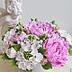 Цветы ручной работы. Ярмарка Мастеров - ручная работа. Купить Букет с розовыми пионами. Handmade. Розовый, букет