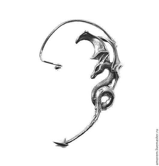 Каффы ручной работы. Ярмарка Мастеров - ручная работа. Купить Кафф Дракон, на левое ухо. Handmade. Серебряный, серебро