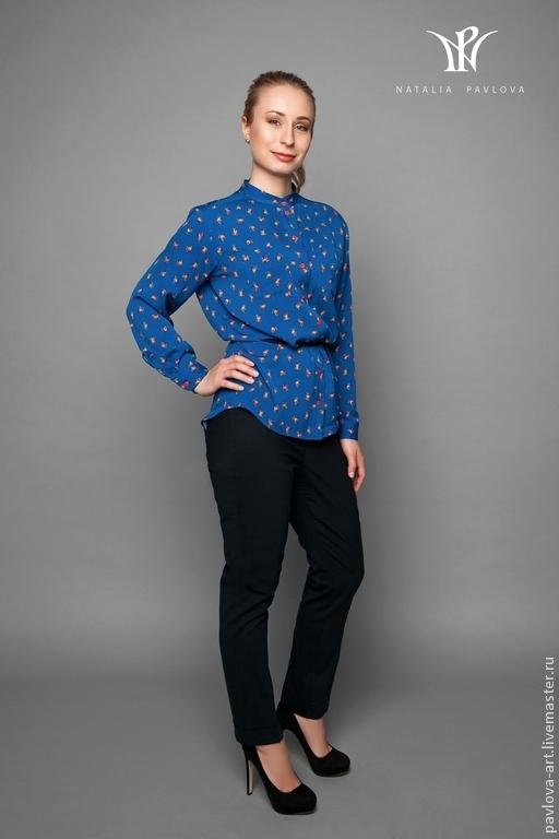 Блузки ручной работы. Ярмарка Мастеров - ручная работа. Купить Рубашка шелковая ручной работы. Handmade. Голубой, дизайнерская одежда