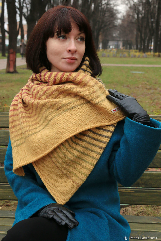 Полосатый шерстяной шарф, Шали палантины, Москва, Фото №1