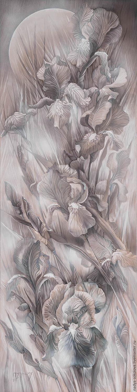 Картины цветов ручной работы. Ярмарка Мастеров - ручная работа. Купить Ирисы 4. Handmade. Серый, ирисы, цветы