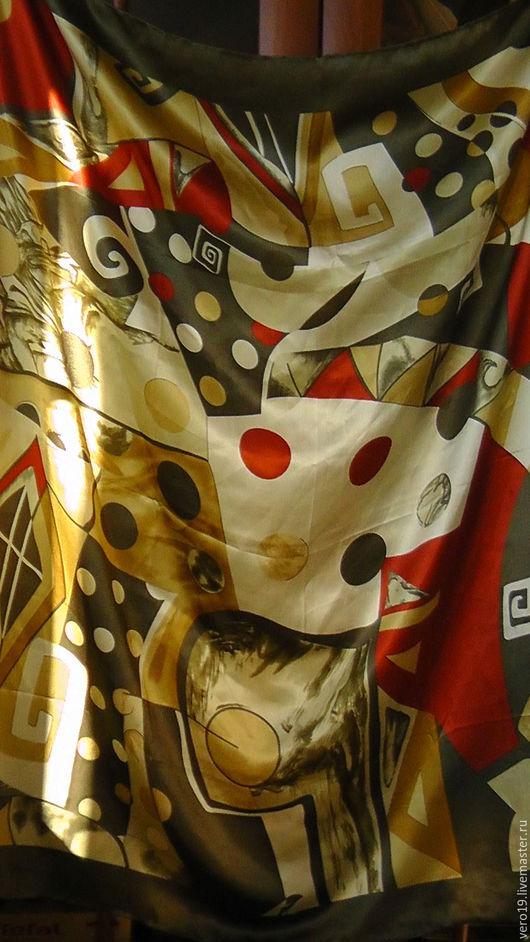 Винтажная одежда и аксессуары. Ярмарка Мастеров - ручная работа. Купить Шёлковый платок. Handmade. Оливковый, платок на голову