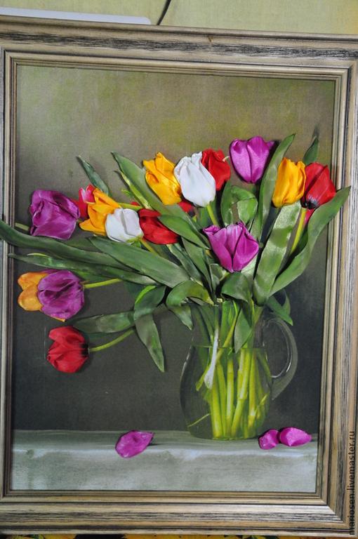 Картины цветов ручной работы. Ярмарка Мастеров - ручная работа. Купить тюльпаны. Handmade. Ярко-красный, подарок