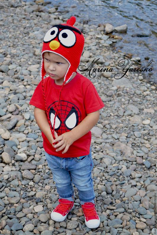 Одежда для мальчиков, ручной работы. Ярмарка Мастеров - ручная работа. Купить шапочка  Angry Birds в красном цвете. Handmade. птичка