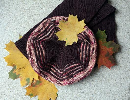 """Шапки и шарфы ручной работы. Ярмарка Мастеров - ручная работа. Купить """"Осенний шоколад"""" комплект для девочки берет и шарф. Handmade."""