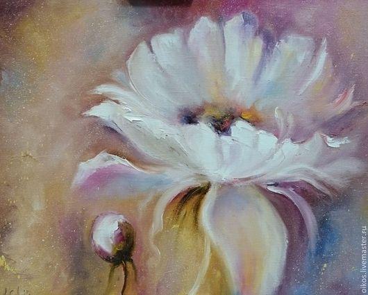 Картины цветов ручной работы. Ярмарка Мастеров - ручная работа. Купить Белый цветок - картина маслом. Handmade. Подарок для женщины