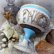 """Подарки к праздникам ручной работы. Ярмарка Мастеров - ручная работа блюдо для кулича и вазочка для сладостей """"Светлая Пасха"""". Handmade."""