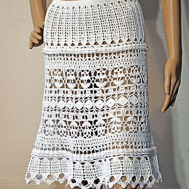 Одежда ручной работы. Ярмарка Мастеров - ручная работа Белая юбка крючком Marcia. Хлопок. Handmade.
