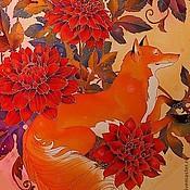 """Аксессуары ручной работы. Ярмарка Мастеров - ручная работа батик платок """"Лиса и георгины"""". Handmade."""