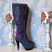 """Обувь ручной работы. Ярмарка Мастеров - ручная работа Валенки Сапожки  """"Фиолетовый цветок"""" серый. Handmade."""
