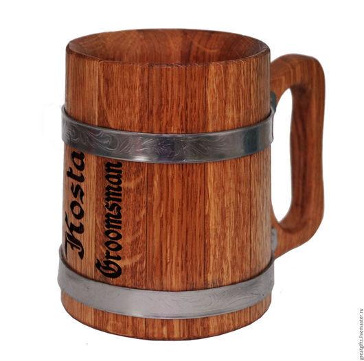 Деревянная кружка с персональной гравировкой по Вашему дизайну и выбору (текст, имена, даты, фразы или цитаты; рисунки, изображения или логотипы)
