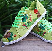 Обувь ручной работы. Ярмарка Мастеров - ручная работа женские кеды с вышивкой. Handmade.