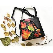 Сумки и аксессуары handmade. Livemaster - original item Women`s leather bag with hand painted Autumn leaves. Handmade.