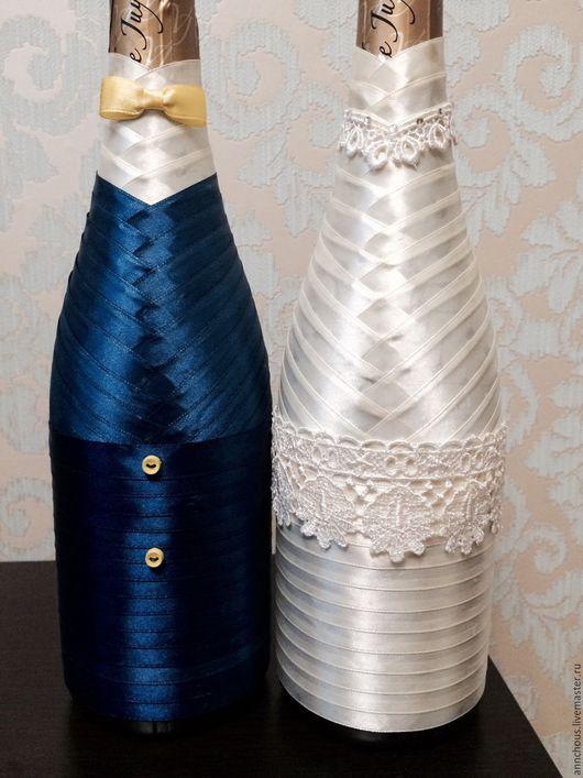 Свадебные аксессуары ручной работы. Ярмарка Мастеров - ручная работа. Купить Декорирование свадебных бутылок. Handmade. Комбинированный, жених и невеста