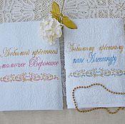 Работы для детей, ручной работы. Ярмарка Мастеров - ручная работа Подарки крестным- большие  именные махровые полотенца. Handmade.