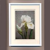 ручной работы. Ярмарка Мастеров - ручная работа Постер картины акварелью Белый Ирис, серый белый. Handmade.