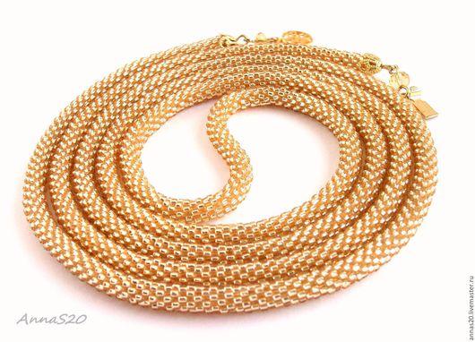 Лариат `Золотая струна`, золотистый лариат из бисера, лариат под золото, тонкий гибкий золотистый лариат, лариат из бисера золотистый.