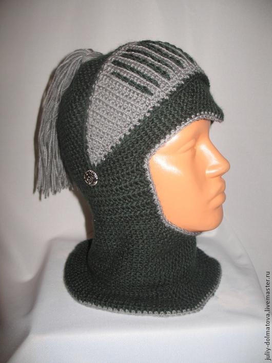 """Шапки ручной работы. Ярмарка Мастеров - ручная работа. Купить Шапка- шлем """"Рыцарь-2"""". Handmade. Болотный, шапочка вязаная"""