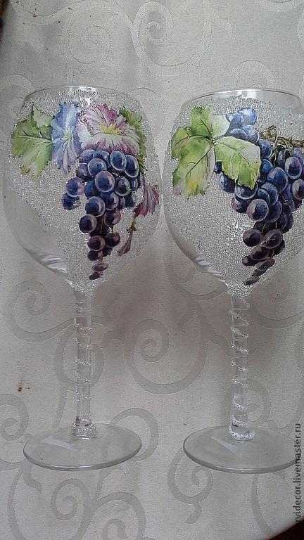 """Бокалы, стаканы ручной работы. Ярмарка Мастеров - ручная работа. Купить Бокалы для вина """"Виноградная лоза"""". Handmade. Подарок, Бокалы"""