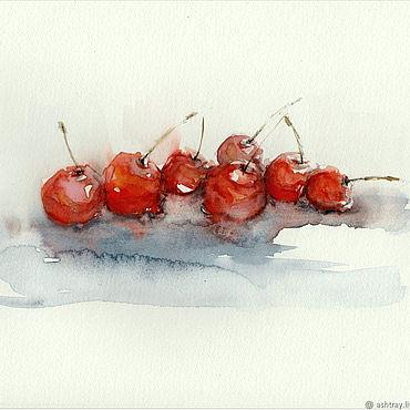 """Картины и панно ручной работы. Ярмарка Мастеров - ручная работа Акварель """"Вишня"""". Handmade."""