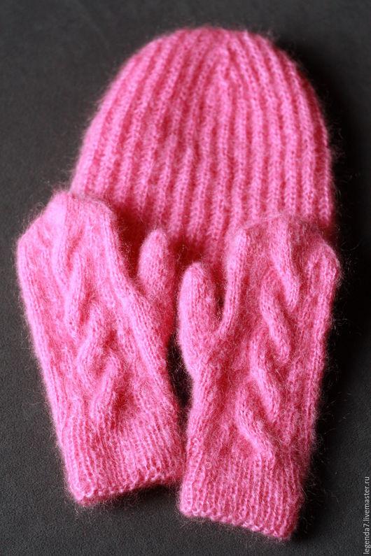 Варежки, митенки, перчатки ручной работы. Ярмарка Мастеров - ручная работа. Купить Розовые мохеровые варежки. Handmade. Купить варежки
