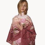 Одежда handmade. Livemaster - original item Shawl, wrap Pink Garden embroidered. Handmade.