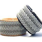Украшения ручной работы. Ярмарка Мастеров - ручная работа Широкий кожаный скандинавский браслет, мужской женский кожаный браслет. Handmade.
