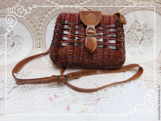 Винтажные сумки и кошельки. Ярмарка Мастеров - ручная работа. Купить Винтажная плетенная  сумочка с отделкой из кожи, Европа 80-е. Handmade.